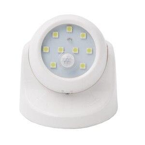 Image 4 - 9 LEDs 360 stopni obrót lampa z czujnikiem ruchu czujnik lampka nocna na baterie obsługiwane na ścianę w korytarzu lampka nocna do szaf garażowych przedpokój