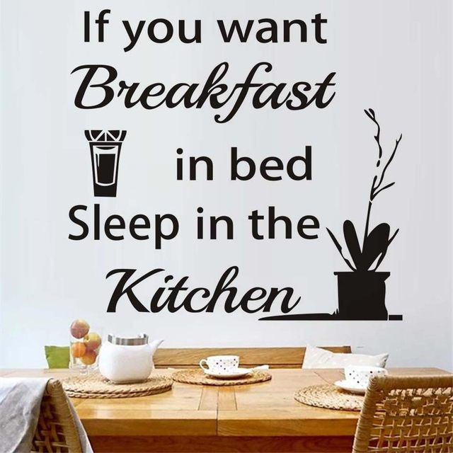 Online Shop Kitchen Wall Sticker Sleep In The Kitchen Quote Sayings ...
