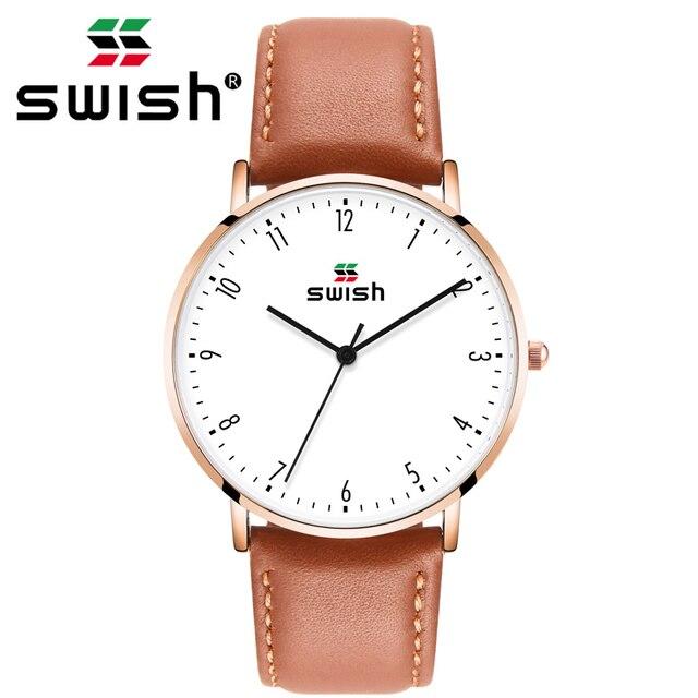 スウィッシュ 2020 男性超薄型腕時計革ステンレス鋼クォーツ時計 30 メートル防水ブラウンレザー腕時計