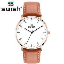 Swish 2020 Mannen Ultra Dunne Horloge Leer Rvs Quartz Horloges 30M Waterdichte Bruin Lederen Band Fashion Horloge