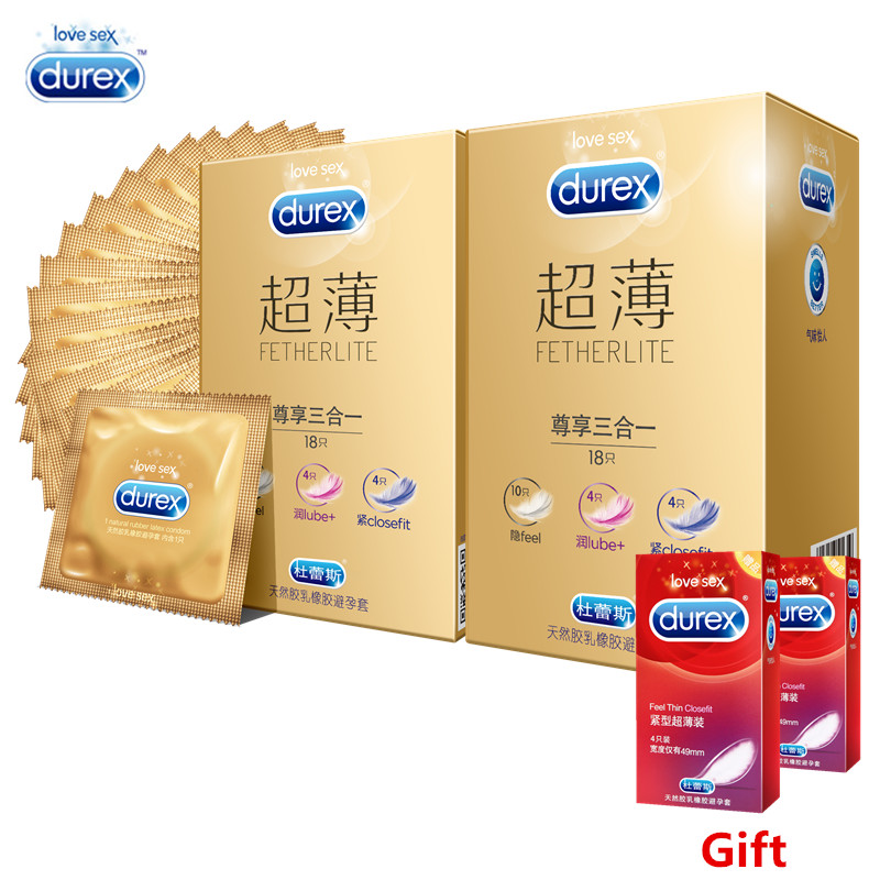 Durex Condom 44/58 PCS Feherlite 3 in 1 Natural Latex Extra Lubricating Lube Penis Cock Sleeve for Adults Kondom Condoms for Men durex ky lube sex supplies 50g