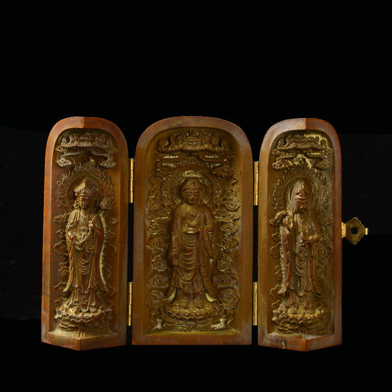 China Decorated Handwork Old Box Wood Carved Buddha Amulet Box Statue