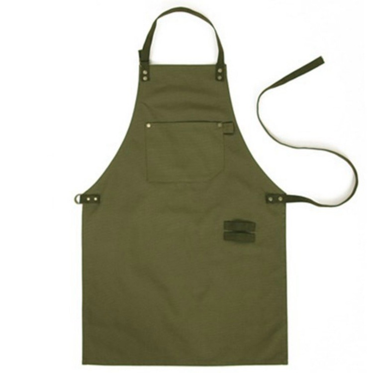 Army Green Denim Style Aprons Catering Kitchen Apron