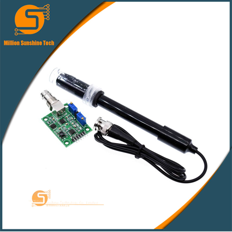Liquid PH Value Detection detect Sensor Module Monitoring Control Board For Arduino BNC Electrode Probe Controller free shipping