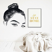 Eyelashes Girls Eyes Wall Sticker Eyebrows Beauty Salon Room Decoration Girl Face Home Decor Vinyl Art Poster W258