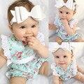 Macacão de bebê do vintage floral bebê menina macacão Bebê Recém-nascido Da Menina Do Laço Floral Romper Macacão Roupas One-pieces 0-24 M