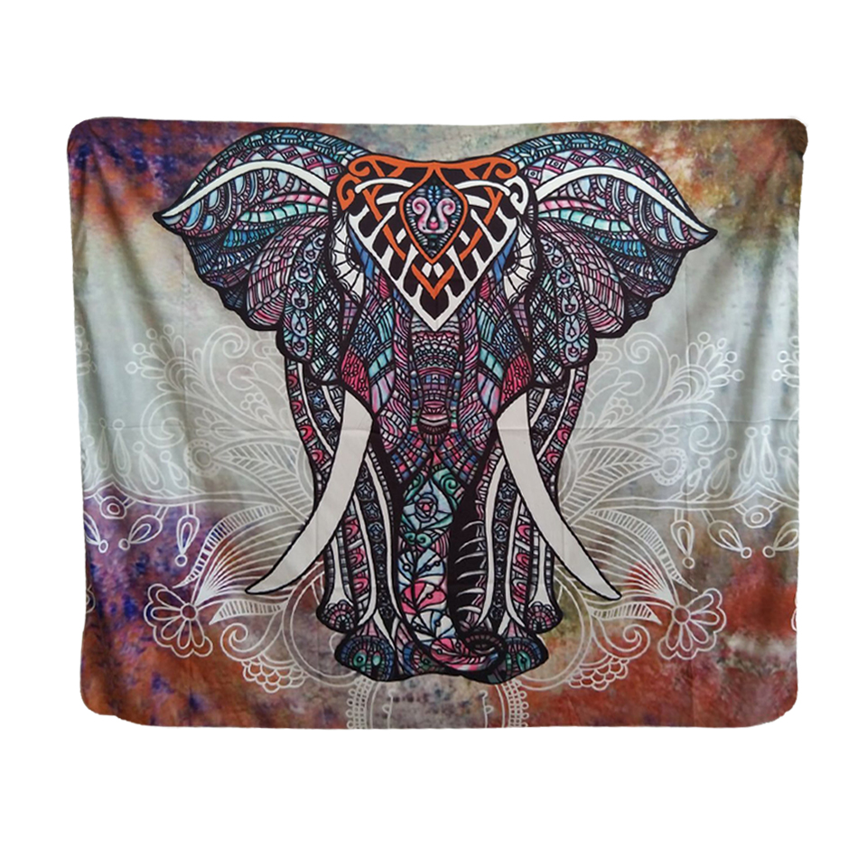 Indian Tapestry Wall Hanging paisley lotus elephant pink mandala soft polyester india tapestry