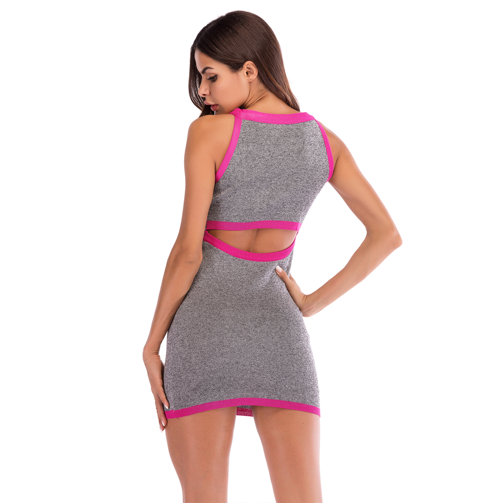 Dress Women Sleeveless Slim Bodycon Dress Sexy Hollow Open Backpack Hip Dress Hit Color Hanging Neck Knit Dress 2018 New Arrival in Dresses from Women 39 s Clothing