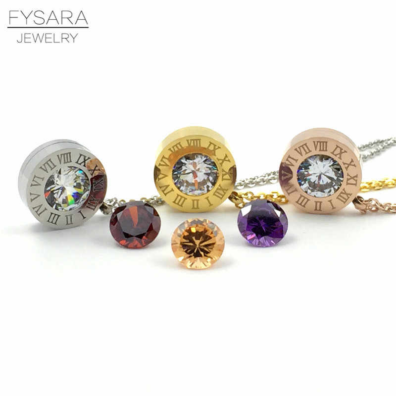 FYSARA Stainless Steel 4 Color Crystals Stone Interchangeable Roman Numerals Pendant Necklace For Women Jewelry Couple necklaces