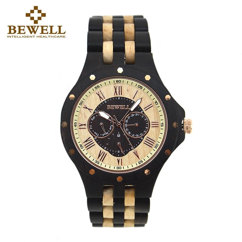 BEWELL 116C Multifunkční dřevěné hodinky s kulatým pouzdrem s kompletní kalendářní týdenní displej Pánské hodinky Top Brand Luxury Watches