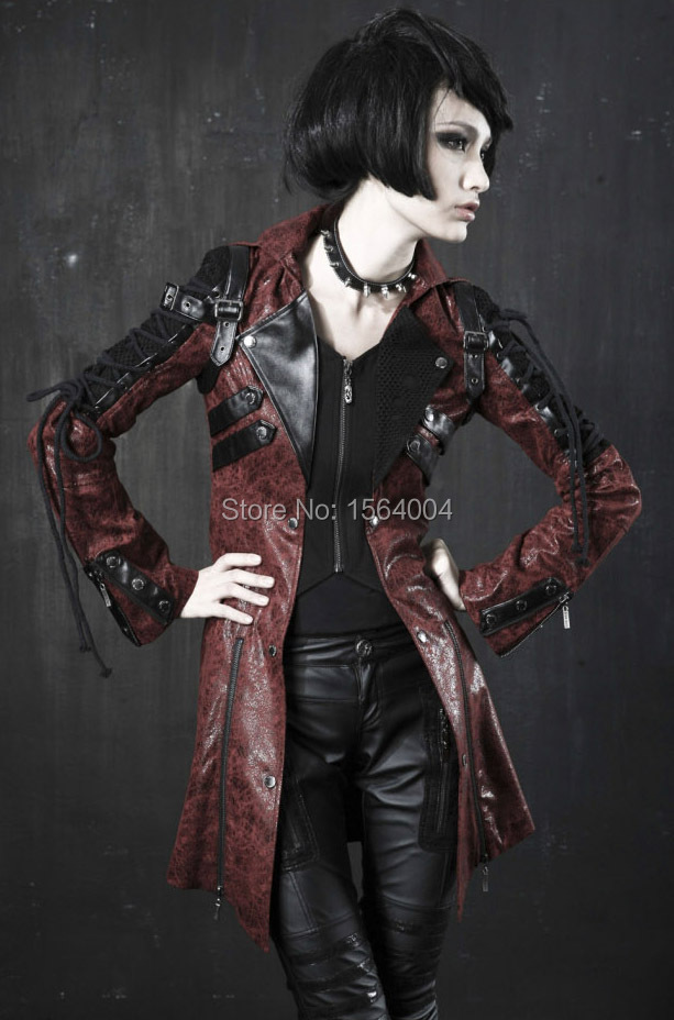0e0d118aea1 Punk Rave Goth Womens Man made Leather Rock studded Cotton Jacket ...
