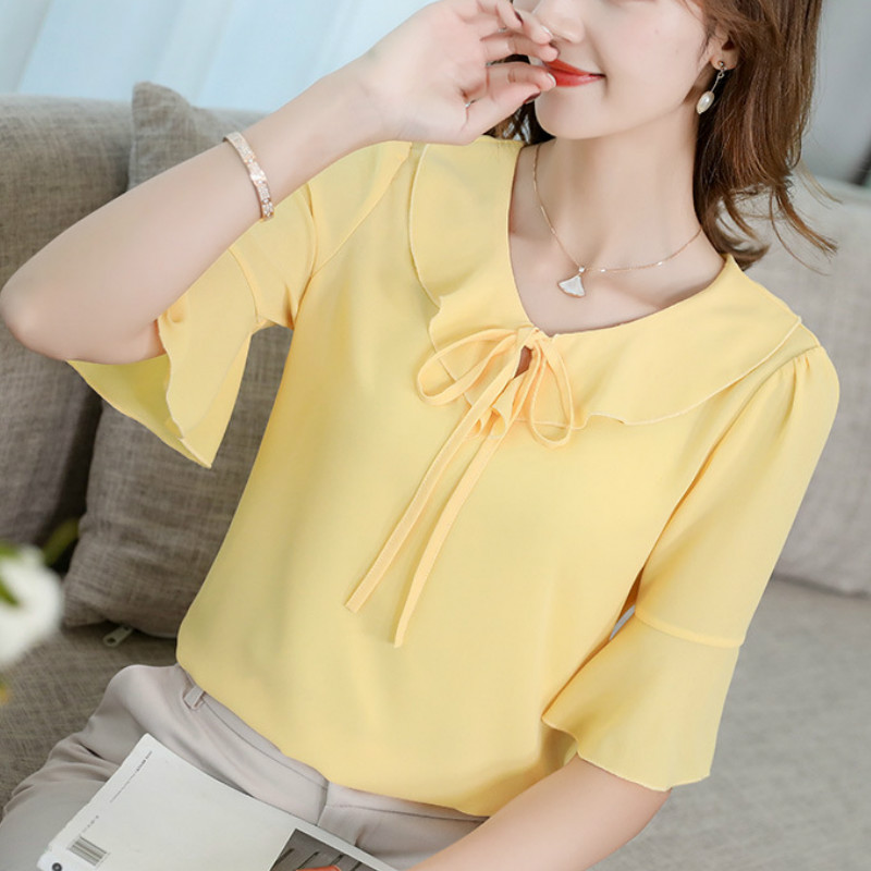 Korean Womens Chiffon Blouse Elegant Office Ruffles Tie Neck Half Sleeve Slim Shirts Summer Blouse 2019 Sweet Pink Top Blusas