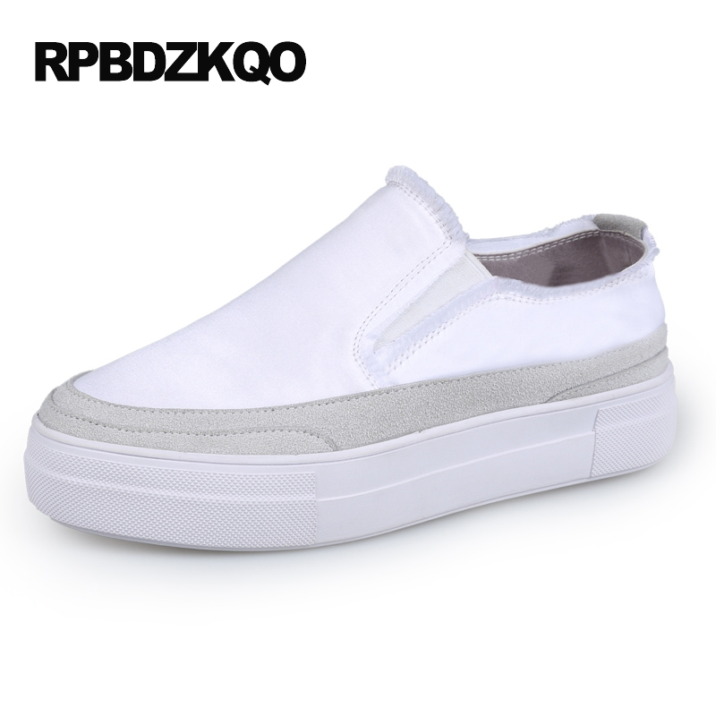 Flats Satin Factory Direct White Ladies Creepers Platform Shoes Slip On Thick Sole Fashion Women Muffin Chinese European Latest акустика центрального канала heco elementa center 30 white satin