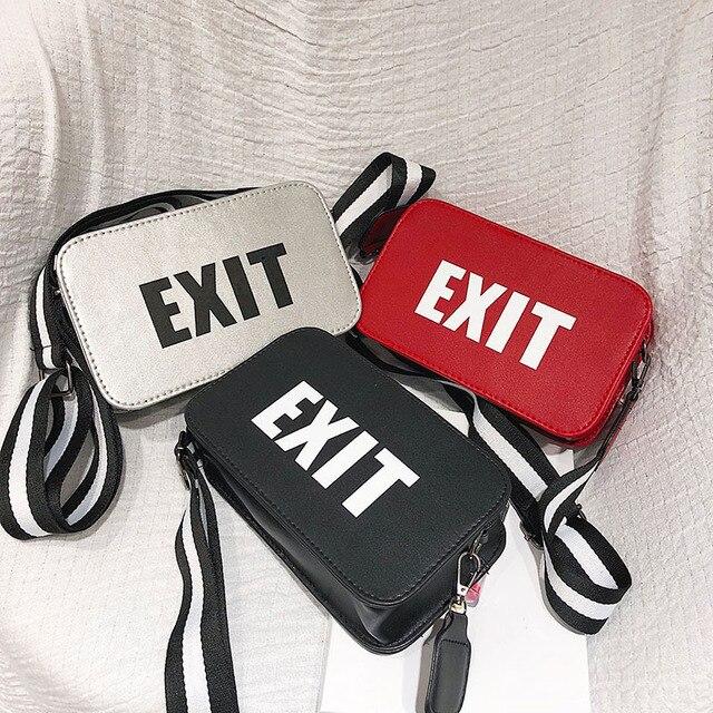2018 Fashion PU Leather Waist Bag Women Fanny Packs Letter EXIT Waist Packs Belt Bag Kpop Street Punk Female Chest Handbag