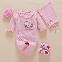 Baby Girl Rompers 2017 4pcs Set Newborn Baby Girl Spring Clothes Hello Kitty Romper Long Sleeves