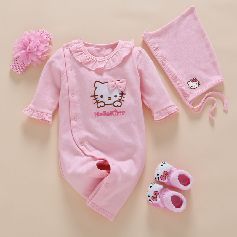 4st / Set New Born Baby Girl Kläder Romper Bomull Söt Broderi Baby Toddler Rompers + Headband + Sock + Hat Girl Vestido Batism