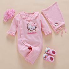 4pcs/Set New Born Baby Girl Clothes Romper Cotton Cute Embroidery Baby Toddler Rompers+Headband+Sock+Hat Meisje Vestido Batism