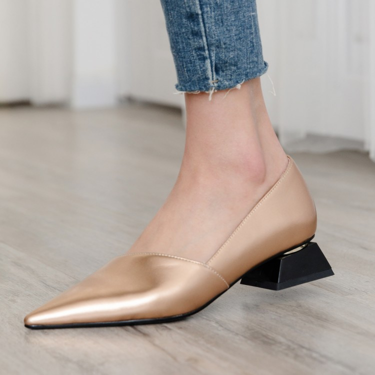 MLJUESE 2019 women flats Soft slip on pointed toe flats gold color spring autumn comfortable casual
