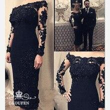 Черное платье для матери невесты с длинными рукавами, прозрачное кружевное платье с аппликацией из бисера, с открытыми плечами, вечернее платье для женщин