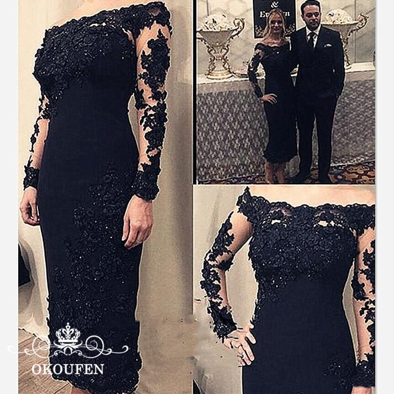 Noir mère de la mariée robes manches longues pure dentelle 2019 Appliques perles hors épaule thé longueur robe de soirée pour les femmes