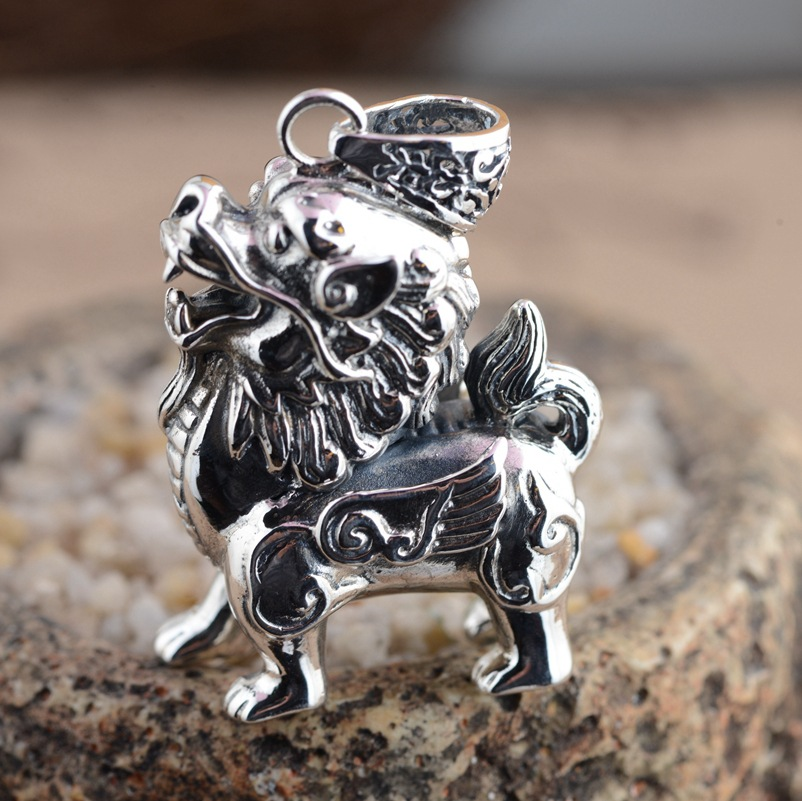 Deer King Jewelry Silver Pendant S925 Sterling Silver Pendant New Gift wholesale kylin ruishou personality deer king jewelry crystal pendant silver inlaid silver fox s925 wholesale margin of recruit personality styles