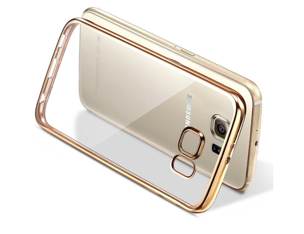 imágenes para Para iphone 5 6 6s 7 plus, para samsung galaxy a3 a5 a7 j5 j7 (2016) (2017) a8 a9 on7 s6 s7 s8 borde más chapado de tpu case cubierta