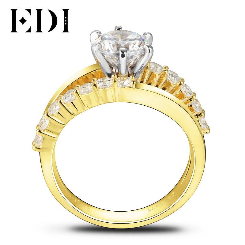 EDI Роскошные 1ct круглой огранки Муассанит Свадебный комплект Дизайн кольцо для Для женщин 14 К 585 Желтое золото Обручение полосы Ювелирные ук