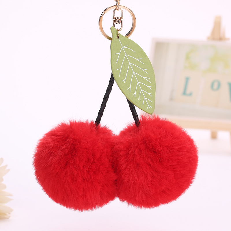 Cute Leaves Fruits Fur Pompom Balls Keychin Keyring Faux Fluffy Fur Pompom Car Handbag Pendants Women Plush Key Ring Gifts