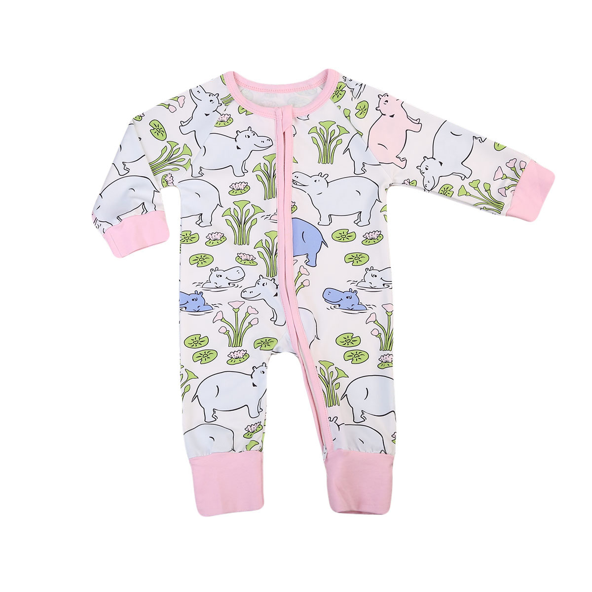 Newborn Infant Baby Toddler Boys Girl Kid Cotton Romper Zipper Jumpsuit Long Sleeve Clothes Outfit 0-24M