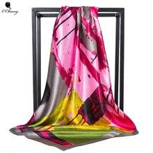 Шелковый шарф большого размера, женские абстрактные каракули, квадратный платок, роскошный дизайн, большая бандана, хиджаб, атласные шарфы для женщин, 90 см x 90 см