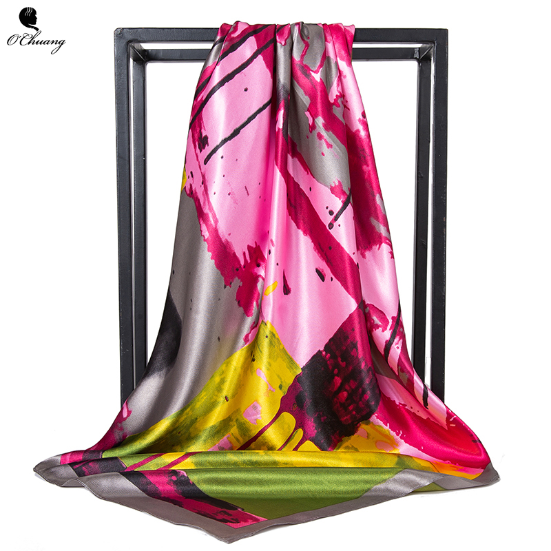 Large Silk Scarf Women Abstract Doodle Square Foulard Luxury Designer Big Bandana Hijab Satin Head Scarves Woman 90cm X 90cm