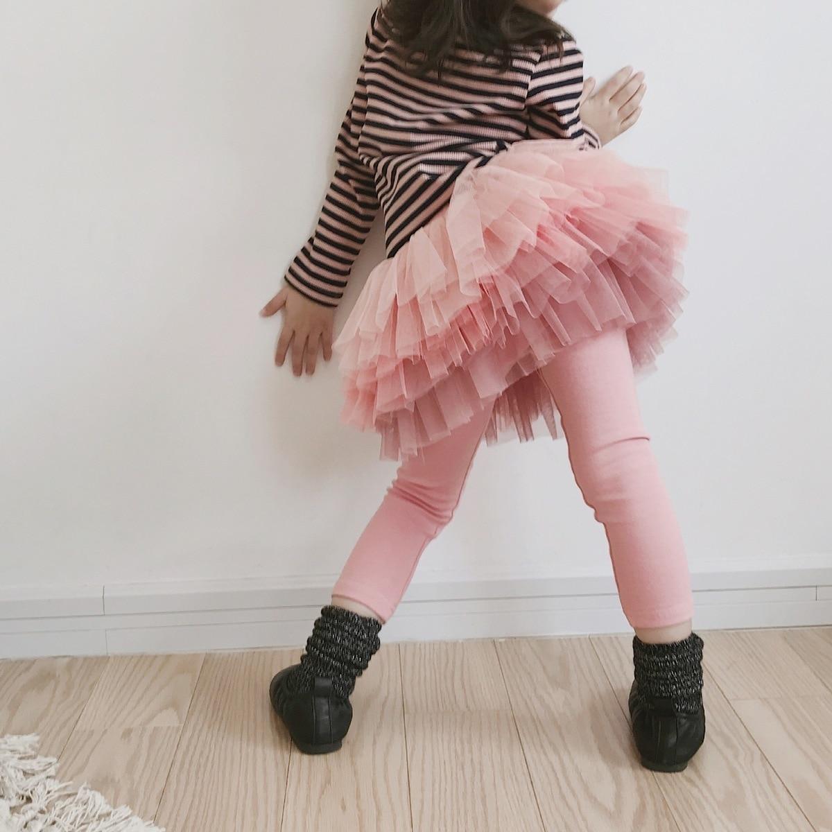 Girls Leggings 2019 Cotton Culottes Tutu Skirt For Girl Baby Girl Shining Lace Leggings Spring Autumn Kids Pants Trousers girl