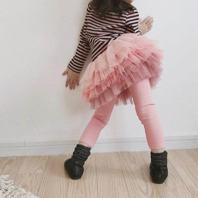 Girls Leggings 2018 Cotton Culottes Tutu Skirt For Girl Baby Girl Shining Lace Leggings Spring Autumn Kids Pants Trousers