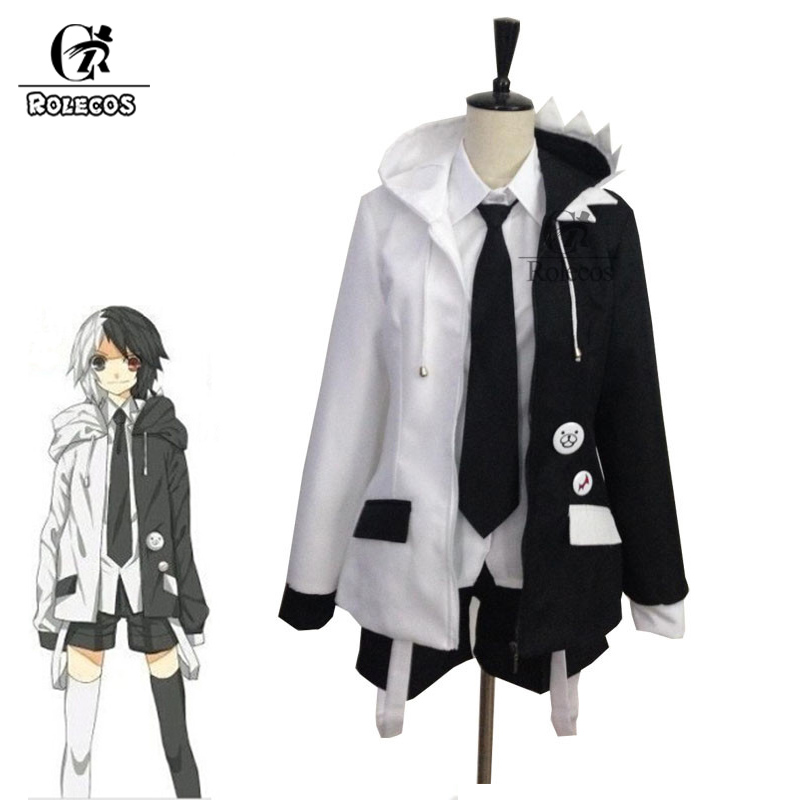 ROLECOS Game Dangan Ronpa Cosplay Costume  Monokuma Anime Cosplay Black and White Women Costume Men Full Sets Jacket Shirt Skirt