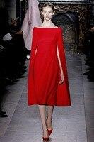 Newest Runway 2014 Women S High Quality Noble Red Cloak Elegant Designer Formal Dress Celebrity Cape