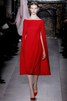 Newest Runway 2014 Women S High Quality Noble Red Cloak Elegant Designer Formal Dress Celebrity Cape