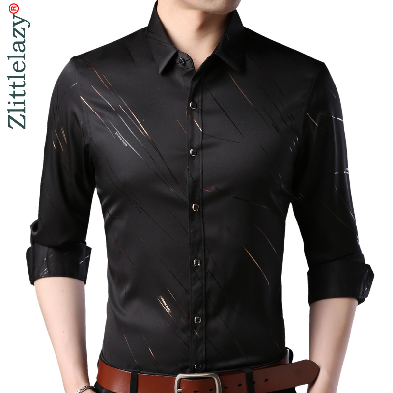 2019 Brand Fashions Casual Slim Fit Long Sleeve Men Shirt Social Streetwear Clothes Striped Shirts Mens Dress High Quality 861
