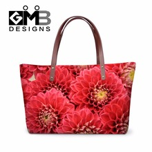 Personalized Shoulder Handbags for Women,Red Flower Simply Vera Handbags for Girls Beach Bag,3D Rose Hands Tote Bag for Vacation