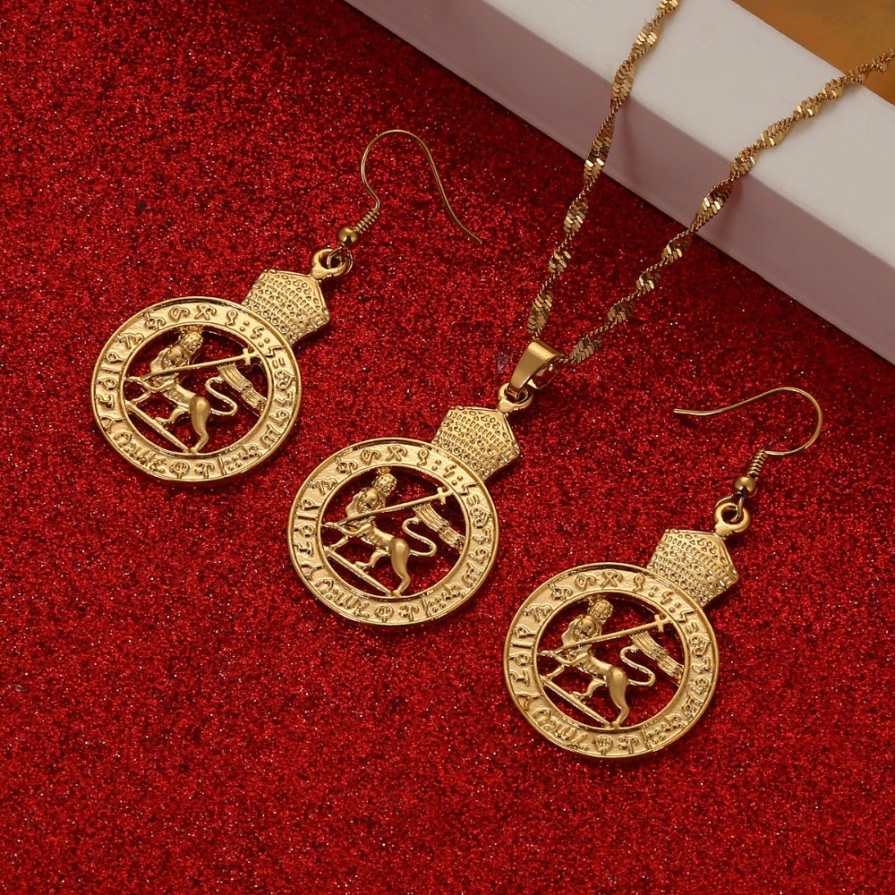 Gold Color Ethiopian National Jewelry Sets Necklace Clip Earrings Ring Eritrean Ethnic Jewelry African Bridal Set