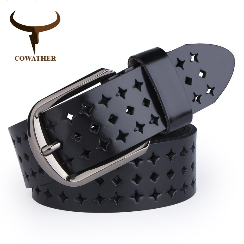 COWATHER 2019 new Women Cow Genuine leather   belts   hollow Korea fashion for women female pin buckle   belt   NQSK002 length 100-125CM