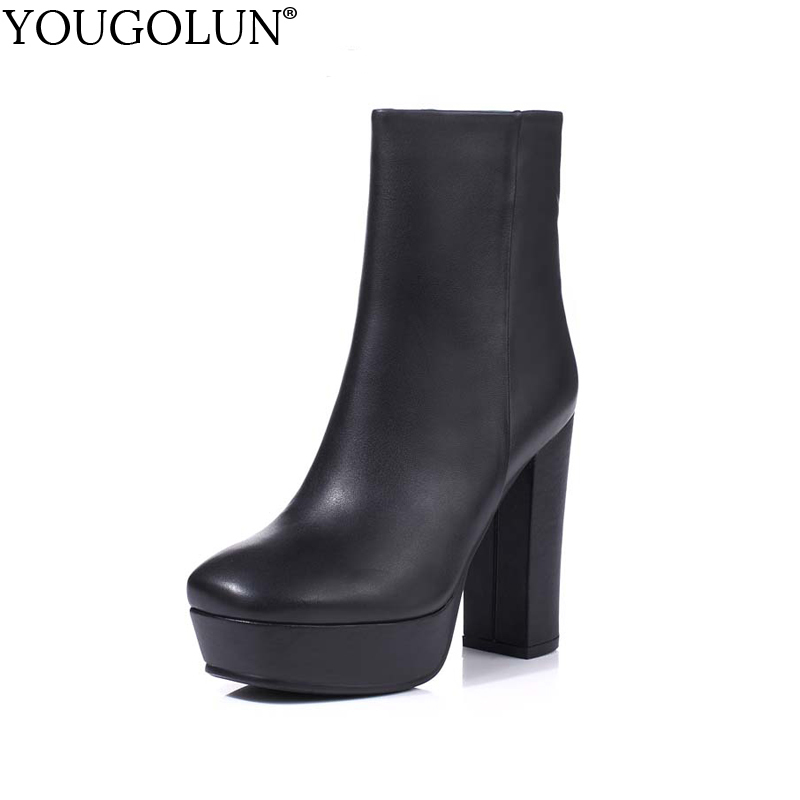YOUGOLUN Women Ankle Boots Genuine Cow Leather Winter Autumn Thick Heel 12 cm High Heels Black White Platform Shoes #Y-125 yougolun women ankle boots 2018 autumn winter genuine leather thick heel 7 5 cm high heels black yellow round toe shoes y 233