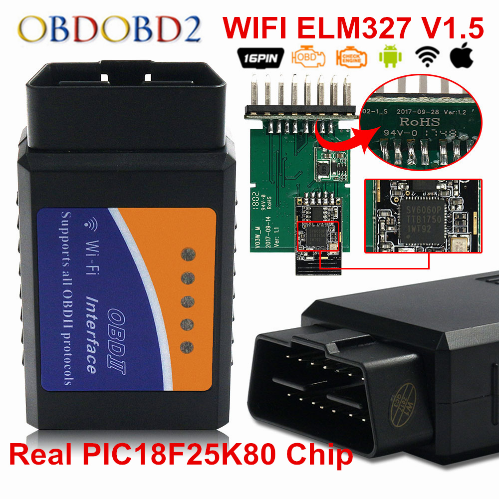 PIC18F25K80 ELM 327 OBD II WIFI Code Reader ELM327 V1.5 WI FI 25K80 Chip OBD2 Diagnostic Scanner For IOS Android Windows Systems