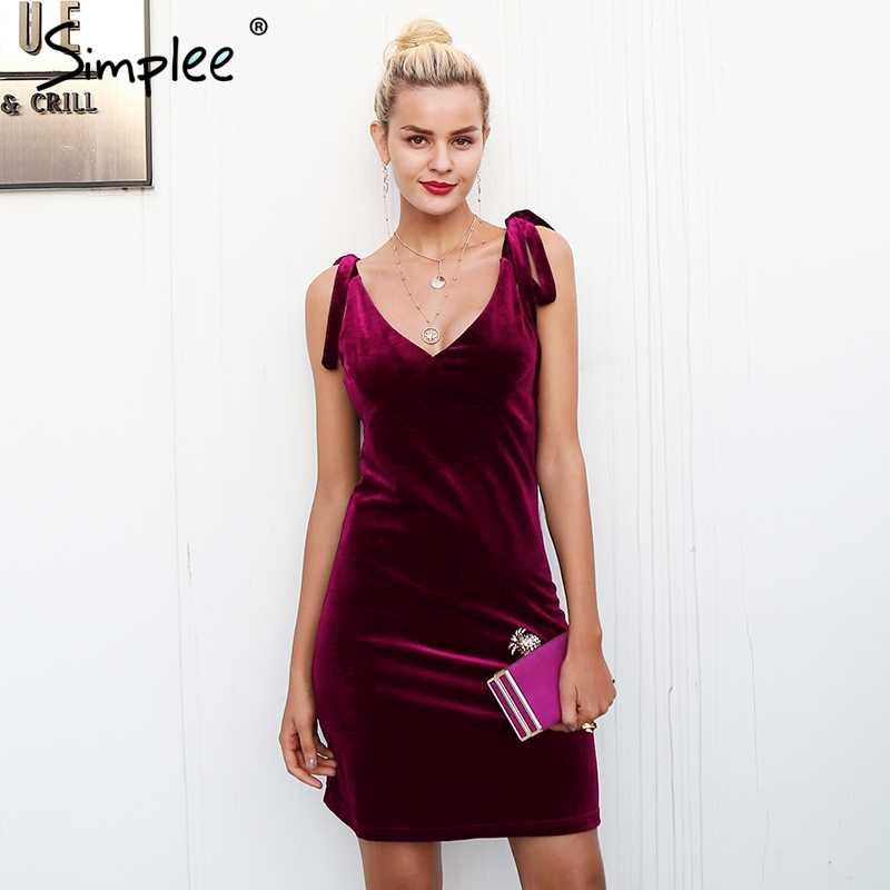 Simplee ремень завязывается бархатное платье женское повседневное короткое зимнее платье с v-образным вырезом женское мини-платье винно-Красного цвета рождественское платье femme