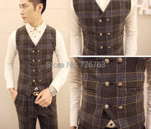 New Men's Tartan Check Double Breasted Fine Skinny Fit Winter Warm Causal Vest Waistcoat M L XL XXL