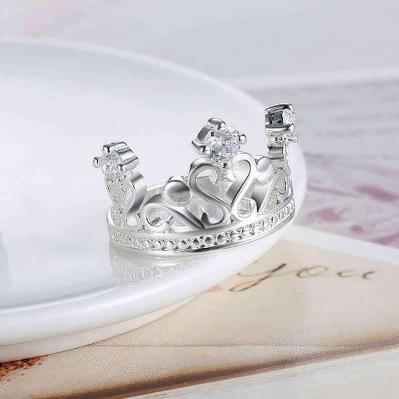 高品質と高級シルバーブリンブリン立方ジルコンブルガリアリング女性女王王冠リングウェディングパーティー Anillos CZ ジュエリー