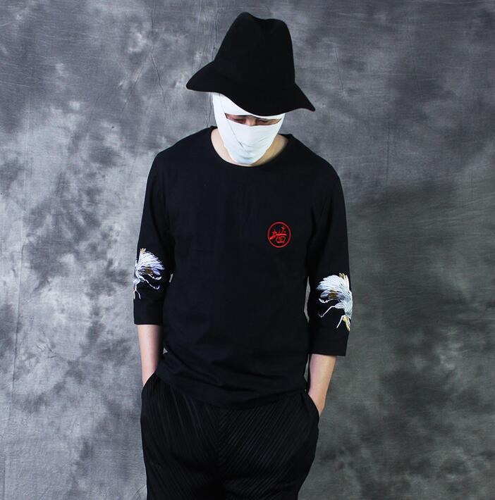 Vintage style chinois t-shirts hommes broderie cinquième manche lin t-shirt mâle noir slim all-match o-cou 1 t-shirt hommes noir