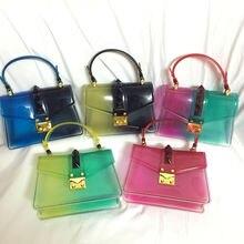 mixtx Gradient Color Rivet Crossbody Women Beach Transparent Shoulder Messenger Bag Jelly Crystal Tote Sweet Lady PVC Handbags