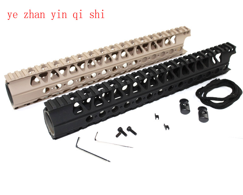High quality Picatinny  LVOA 13.5 inch rail HandGuard Rail System Weaver gun accessories for AEG M4/M16 BK/DE - Free shipping 12 durable mil spec style matte finish lightweight aluminium handguard picatinny quad hunting shooting rail for aeg m4 m16 ar15
