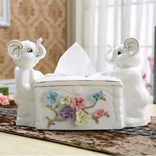 Boite à mouchoirs en céramique éléphant décoration de la maison artisanat décoration de la chambre porte-papier ornement porcelaine figurines décoration de mariage