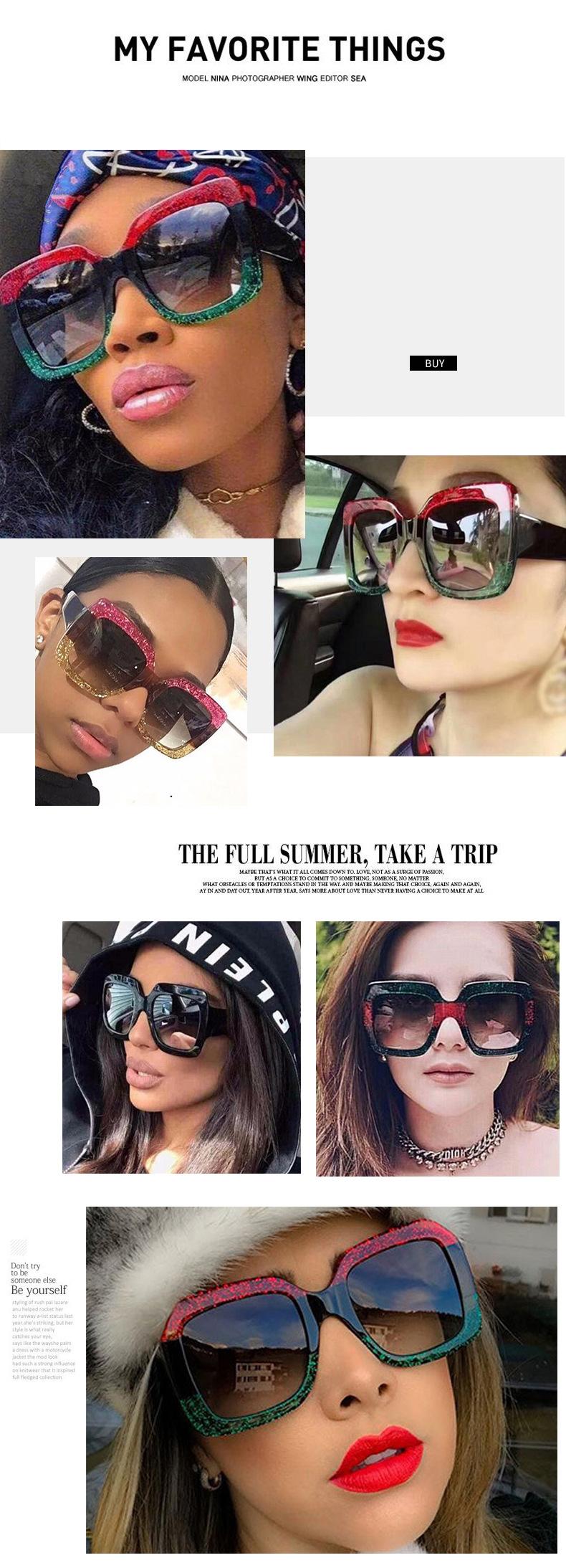 19 Oversized Sunglasses for Women Brand Designer Retro Sun glasses Red Green Shades Eyewear sunglasses woman 1